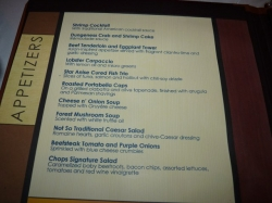 Chops Steakhouse menu