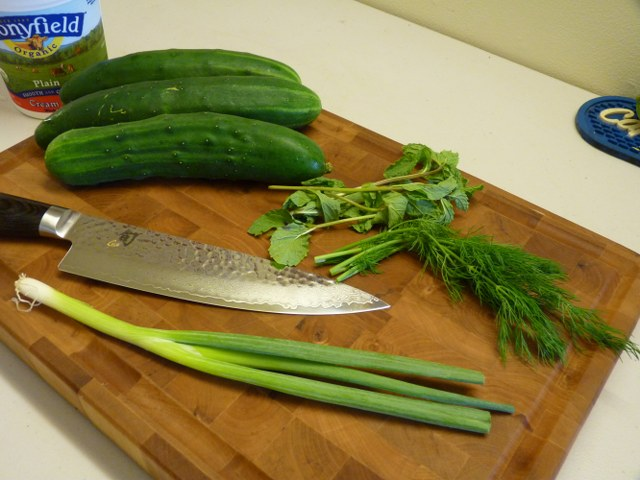 ingredients - mint, cucumber, dill